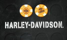 "Harley-Davidson ""POKERCHIPS"" ORANGE ET BLANC"