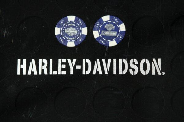 "Harley-Davidson ""POKERCHIPS"" BLEU ET BLANC"